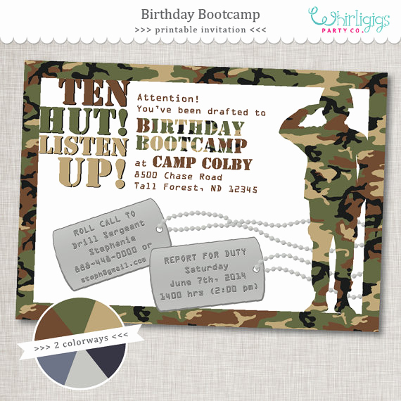 Call Of Duty Invitation Template Fresh Bootcamp Birthday Army Party Invitation Printable
