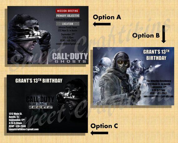 Call Of Duty Invitation Template Fresh Diy Printable Custom Birthday Party Invitation Call Of