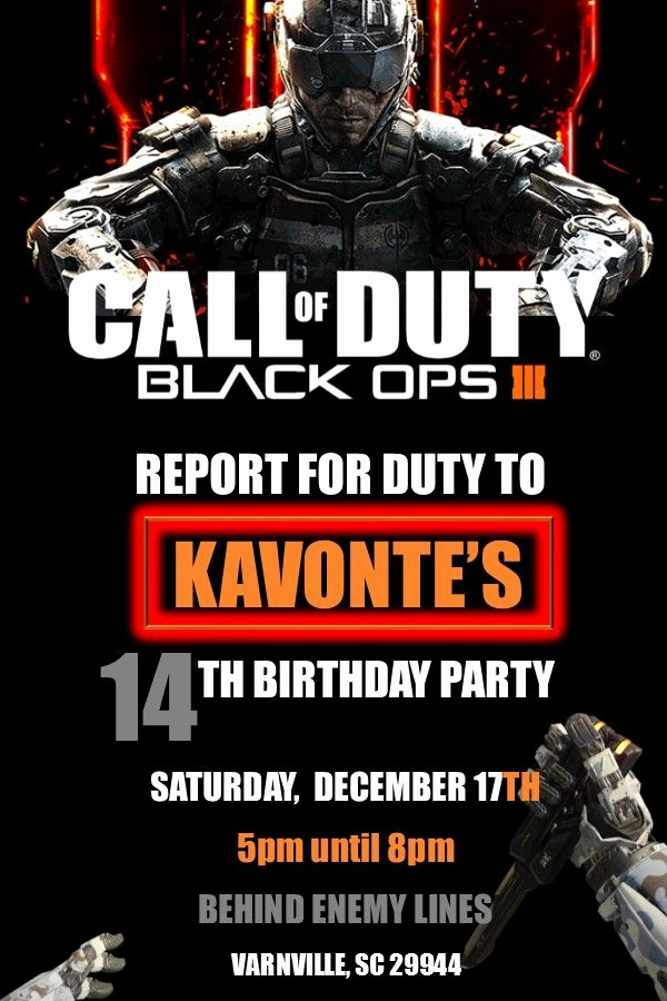 Call Of Duty Invitation Template Inspirational 19 Best Call Of Duty Black Ops 3 Birthday Party Images On