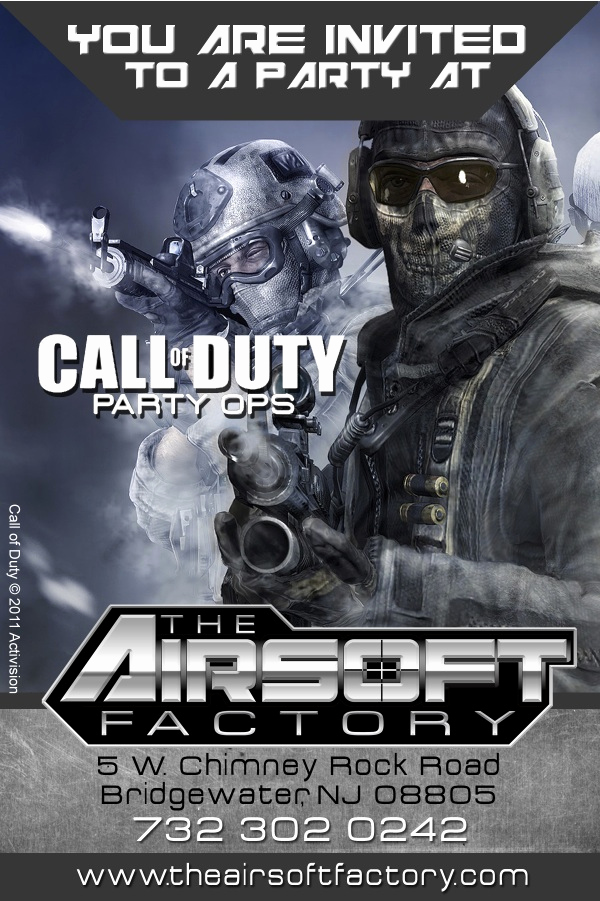 Call Of Duty Invitation Template Lovely Call Duty Airsoft Party