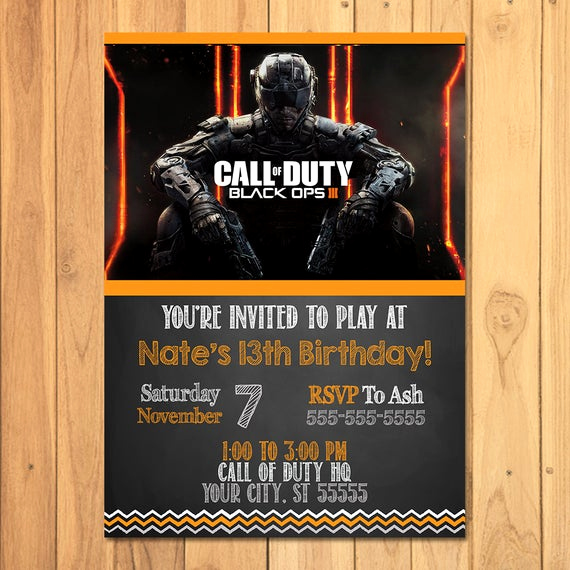 Call Of Duty Invitation Template Lovely Call Of Duty Black Ops 3 Invitation Chalkboard by sometimespie