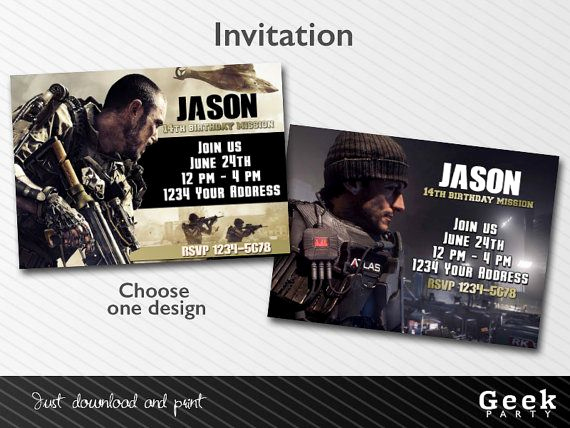 Call Of Duty Invitation Template Luxury Call Of Duty Advanced Warfare Party Invitation Printable