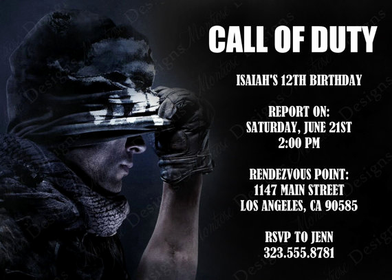 Call Of Duty Invitation Template Unique Call Of Duty Birthday Party theme Ideas & Supplies