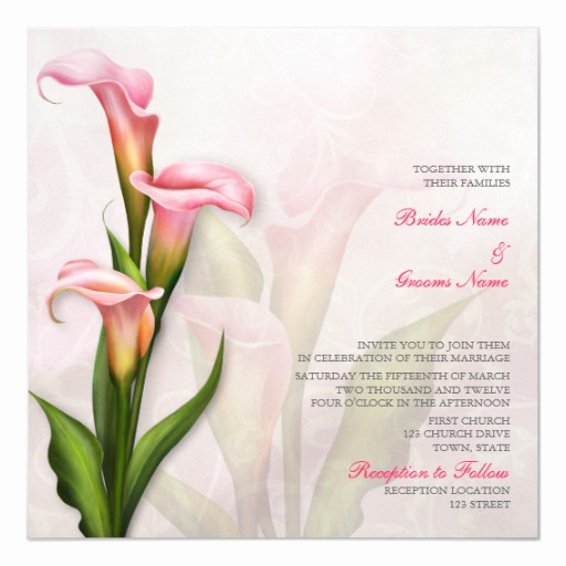 Calla Lily Wedding Invitation Awesome Calla Lily Pink Wedding Invitation