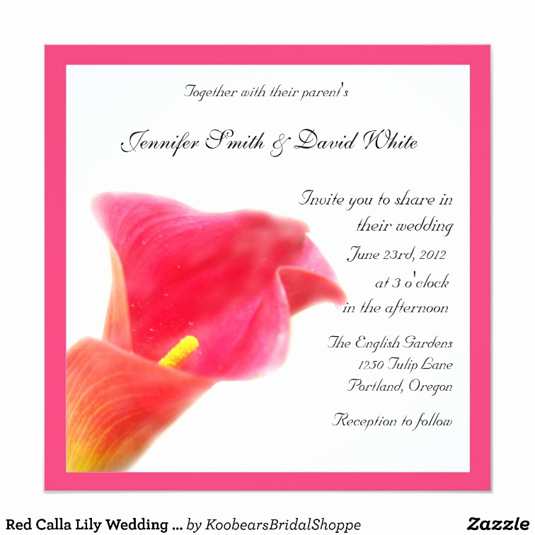Calla Lily Wedding Invitation Beautiful Red Calla Lily Wedding Invitation