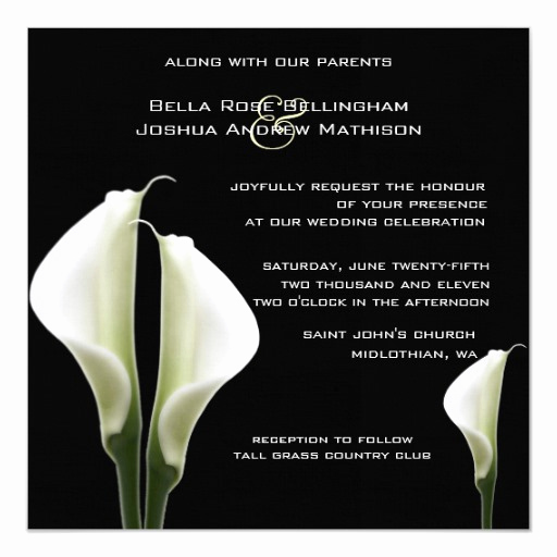 Calla Lily Wedding Invitation Best Of Calla Lilies Wedding Invitation