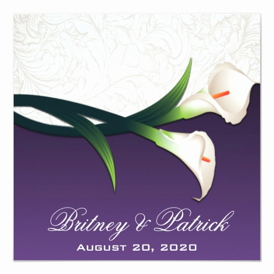 Calla Lily Wedding Invitation Best Of Purple White Silver Calla Lily Wedding Invitations