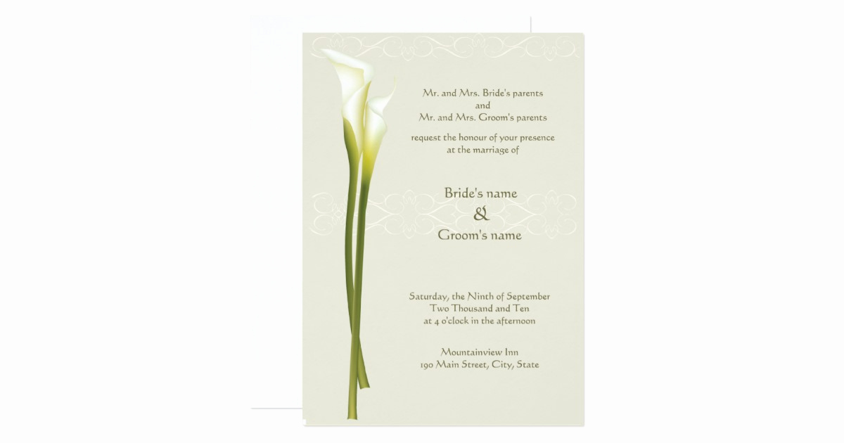 Calla Lily Wedding Invitation Best Of White Calla Lily Wedding Invitation