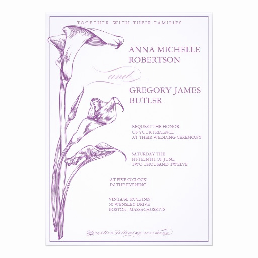 "Calla Lily Wedding Invitation Elegant Calla Lily Wedding Invitation 5"" X 7"" Invitation Card"