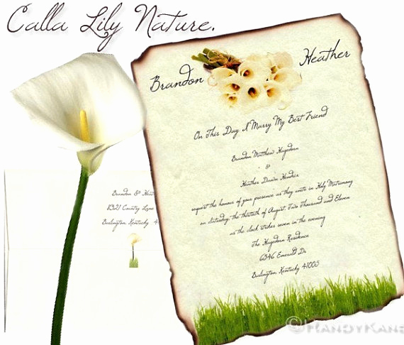 Calla Lily Wedding Invitation Elegant Calla Lily Wedding Invites Birthday Sweet 16 Anniversary
