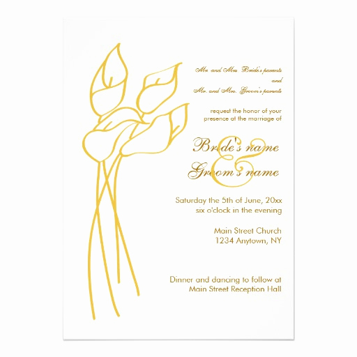 "Calla Lily Wedding Invitation Fresh Calla Lily Wedding Invitation 5"" X 7"" Invitation Card"