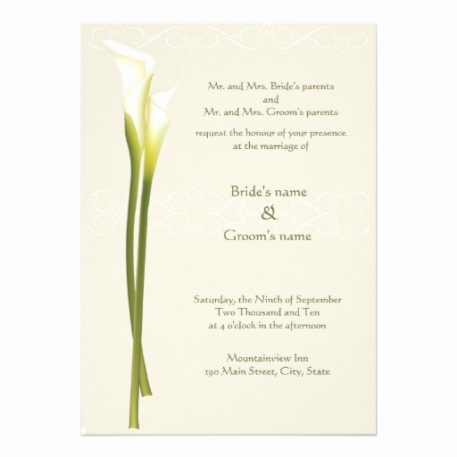 Calla Lily Wedding Invitation Fresh White Calla Lily Wedding Invitation 13 Cm X 18 Cm
