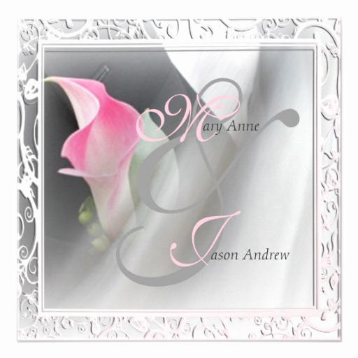 Calla Lily Wedding Invitation Inspirational Pink Calla Lily Flourish Frame Wedding Invitation 5 25