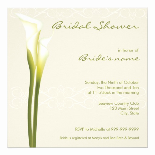 "Calla Lily Wedding Invitation Lovely Calla Lily Bridal Shower Invitations 5 25"" Square"