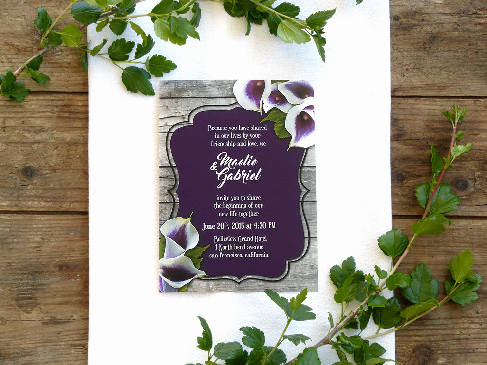 Calla Lily Wedding Invitation Lovely Calla Lily Wedding Invitation for Rustic Wedding by
