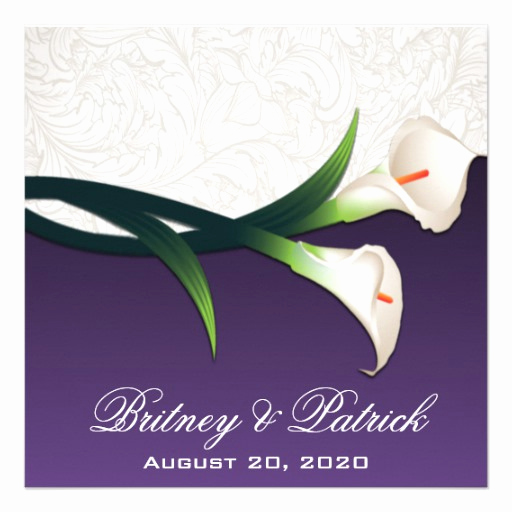 purple white silver calla lily wedding invitations
