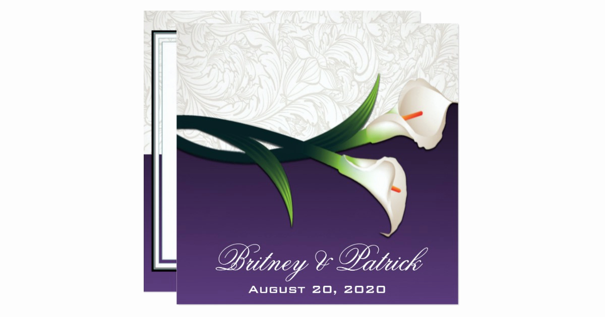Calla Lily Wedding Invitation New Purple White Silver Calla Lily Wedding Invitations