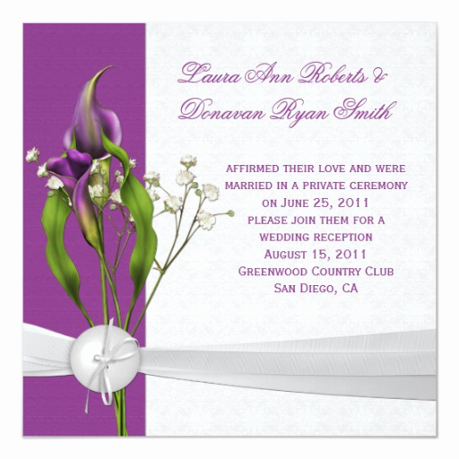 Calla Lily Wedding Invitation Unique Purple Calla Lilies White Damask Post Wedding Invitation