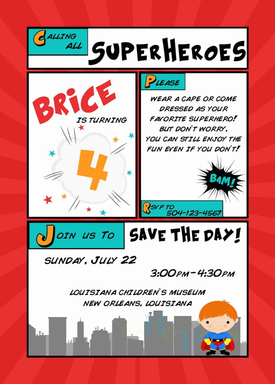 Calling All Superheroes Invitation Awesome Calling All Superheroes Birthday Invitation by