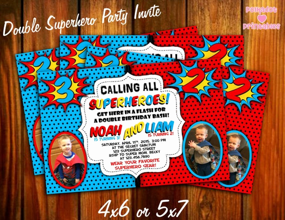 Calling All Superheroes Invitation Awesome Calling All Superheroes Double Party Invitation 4x6 or 5x7
