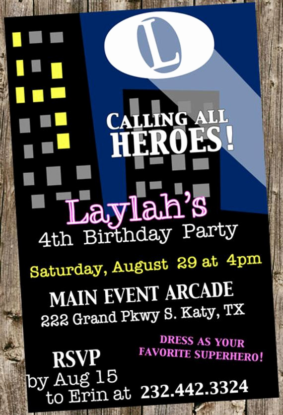 Calling All Superheroes Invitation Beautiful Birthday Invitation Calling All Superheroes City Lights