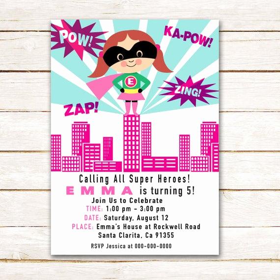 Calling All Superheroes Invitation Beautiful Items Similar to Girl Super Hero Invitation for Birthday