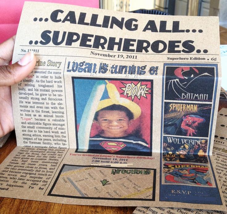 Calling All Superheroes Invitation Elegant Calling All Superheroes Newspaper Invitation
