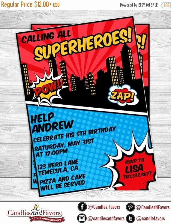 Calling All Superheroes Invitation Elegant Sale Calling All Superheros Birthday Party Invitation