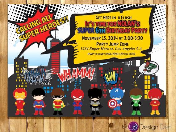 Calling All Superheroes Invitation Elegant Super Hero Birthday Party Invitations Calling All Super