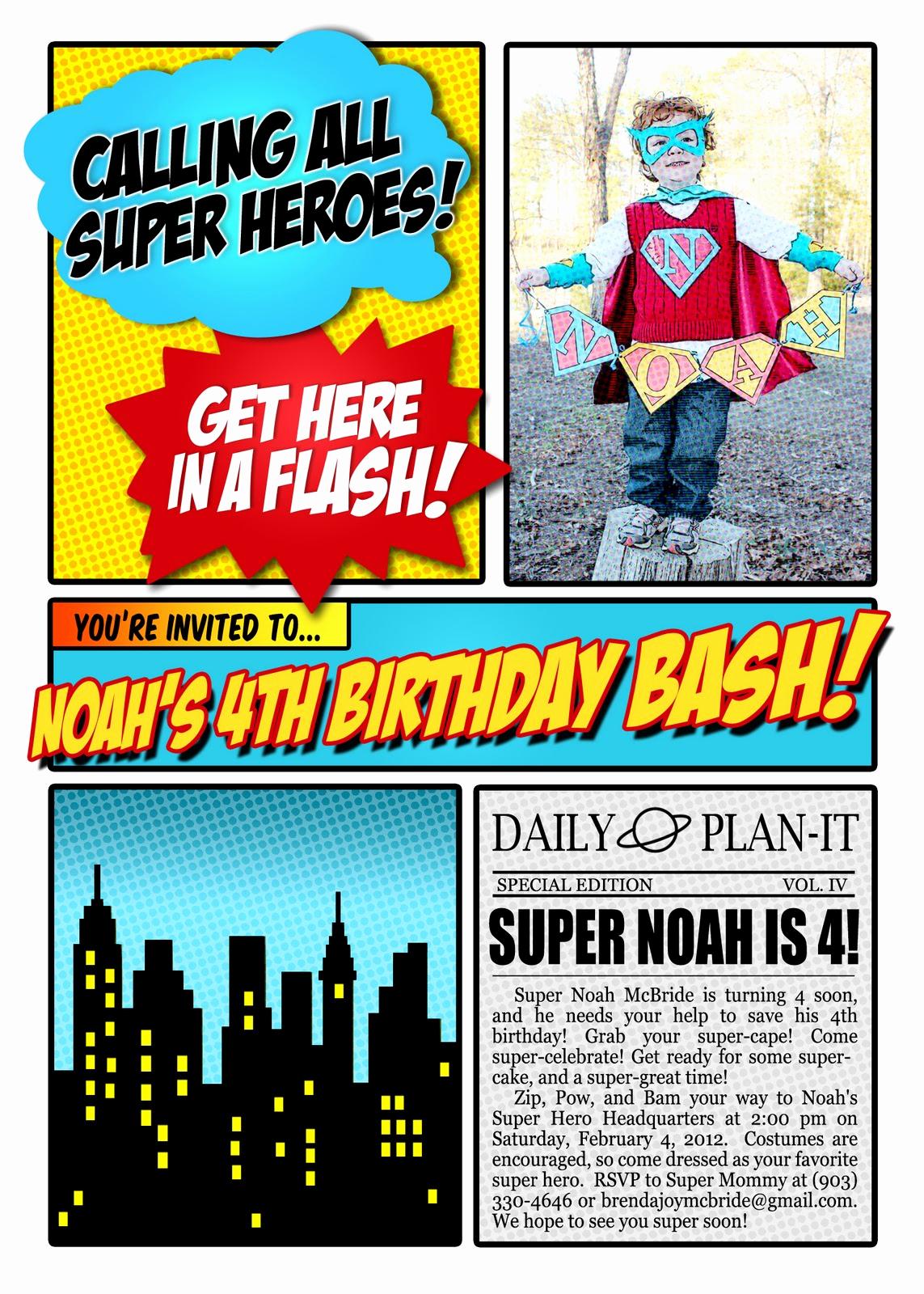 Calling All Superheroes Invitation Lovely Choosing Joy today Super Noah S 4th Birthday Invitation