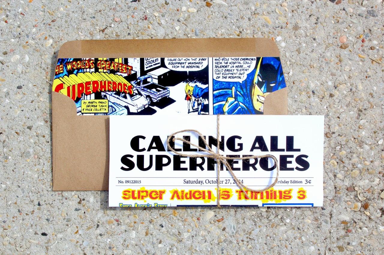 Calling All Superheroes Invitation New Calling All Superheroes Newspaper Invitation by Ohhoneyshop