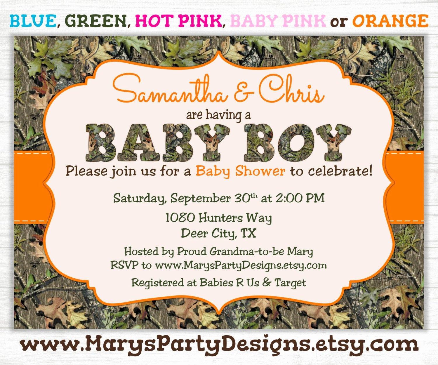 Camo Baby Shower Invitation Fresh Camo Boy Baby Shower Invitation Oak Camouflage Hunting