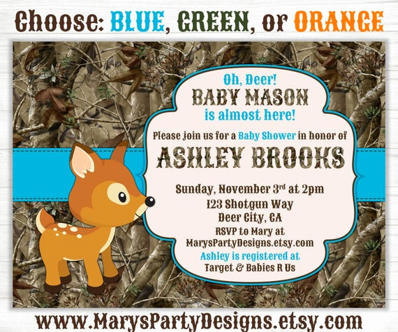 Camo Baby Shower Invitation Fresh Oh Deer Hunting Camo Baby Shower Invitation by