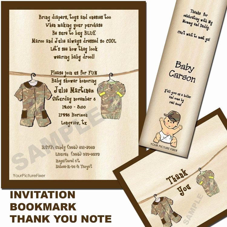 Camo Baby Shower Invitation Lovely Camo Clothesline Baby Shower Invitation