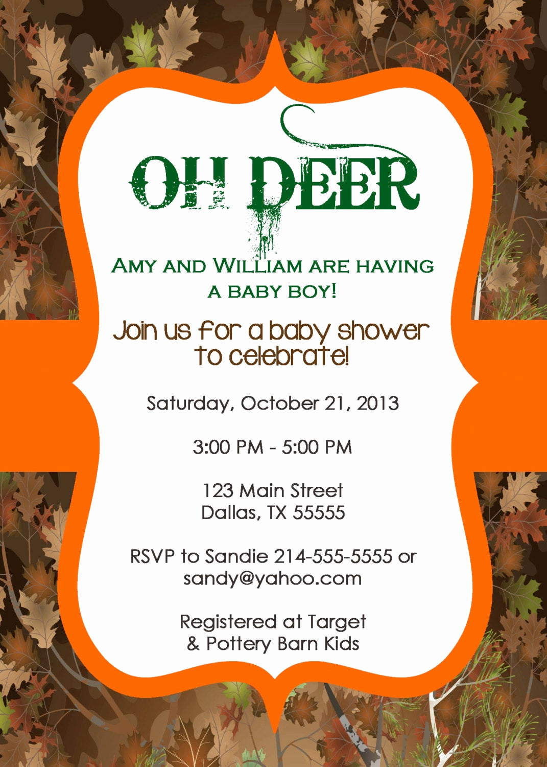 Camo Baby Shower Invitation Lovely Oh Deer Tree Camo Baby Shower Invitation or by