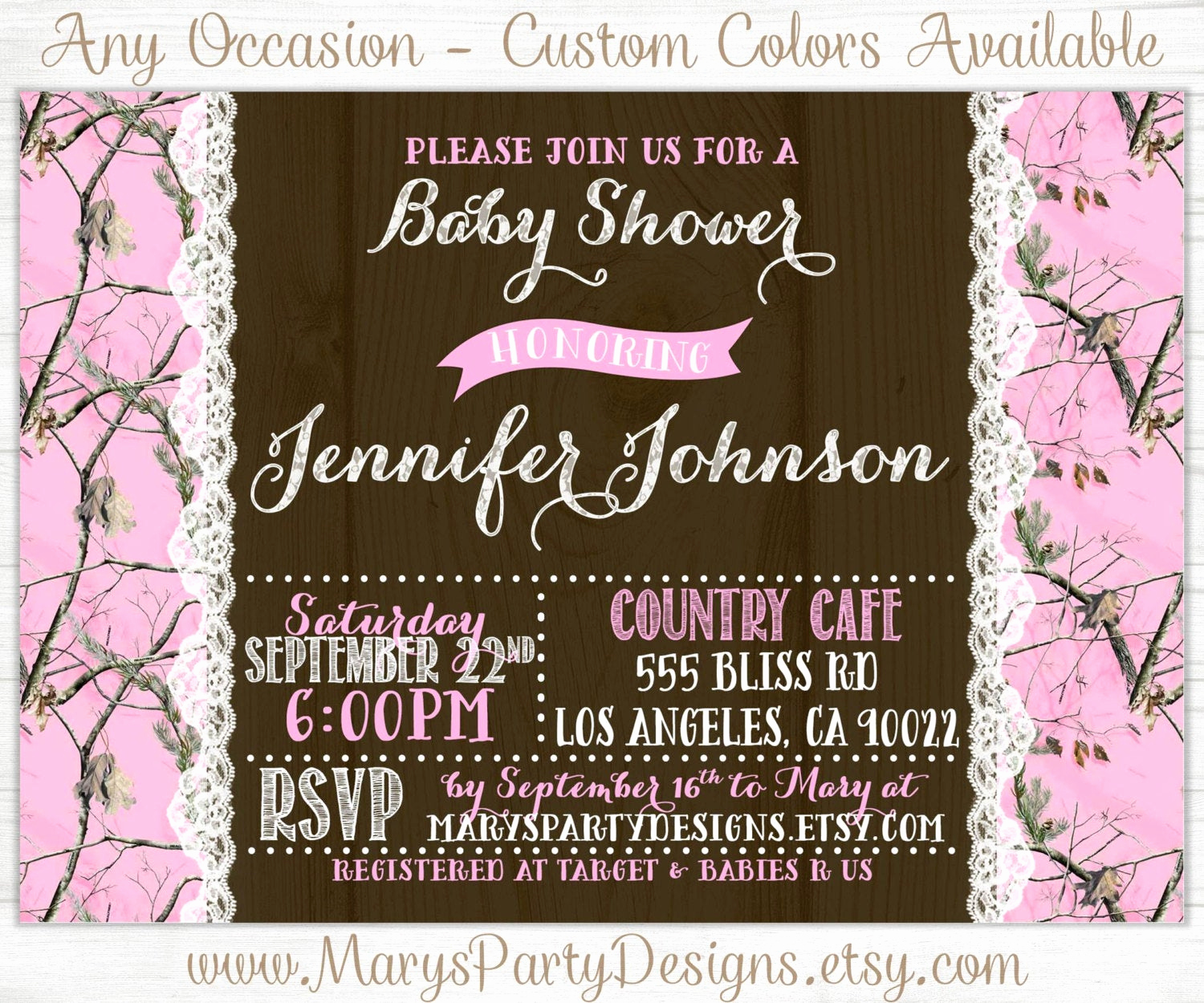 Camo Baby Shower Invitation Lovely Pink Camo Baby Shower Invitation Lace Bridal Shower Sprinkle