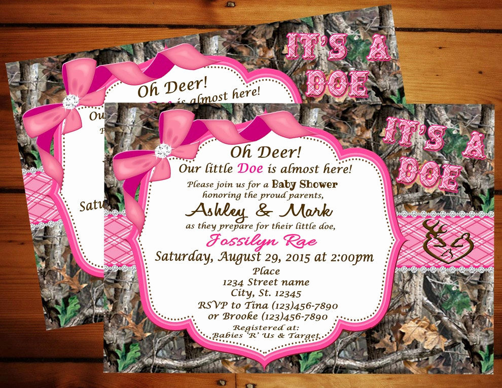 Camo Baby Shower Invitation Lovely Pink It S A Doe Camo Baby Shower Invitation Pink Camo