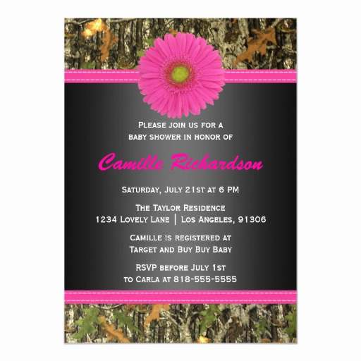 Camo Baby Shower Invitation Luxury Black and Pink Camo Girl Baby Shower Invitation