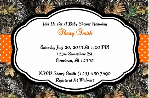 Camo Baby Shower Invitation Luxury Camo and orange Baby Shower Invitation Boy by Sherryskreations