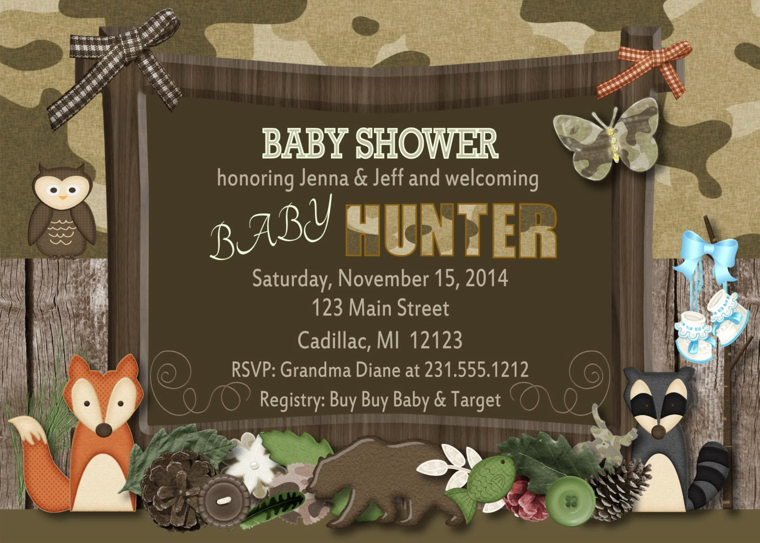 Camo Baby Shower Invitation Luxury Woodland Baby Shower Invitation Fall Camo theme Baby Shower