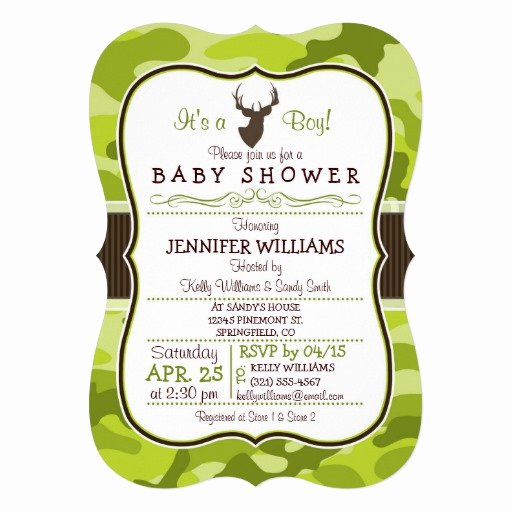 "Camo Baby Shower Invitation New Green Camo with Buck Boy Baby Shower Invitation 5"" X 7"