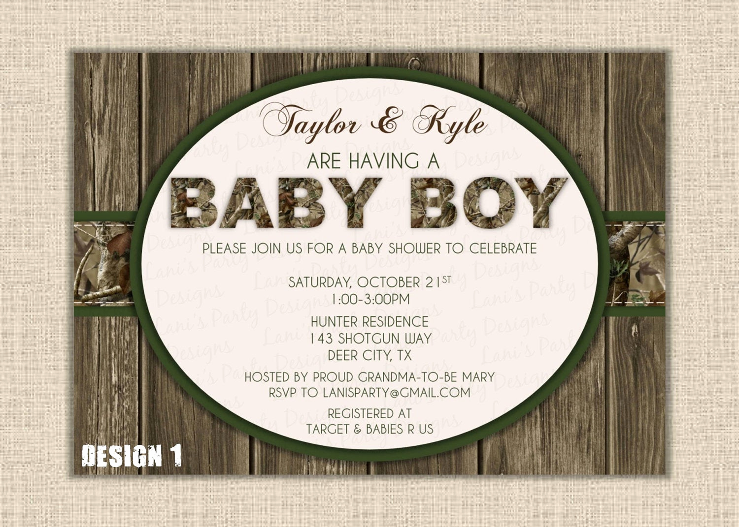 Camo Baby Shower Invitation New orange Green Camo Boy Baby Shower Invitation by