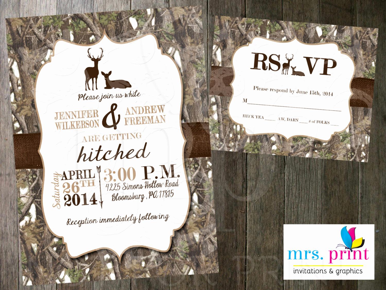 Camo Wedding Invitation Templates Beautiful White Camo Deer Wedding Invitation and Rsvp Card by Mrsprint