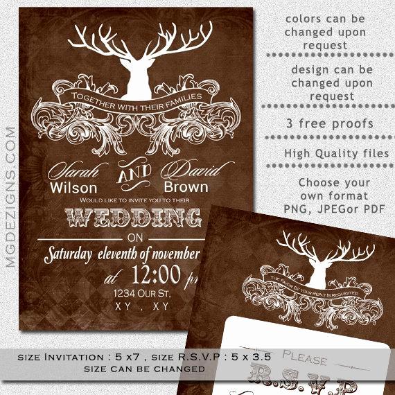 Camo Wedding Invitation Templates Best Of Printable Wedding Invitation Template Antler Wedding by