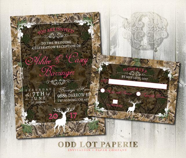 Camo Wedding Invitation Templates Lovely Camo Wedding Invitation and Rsvp Set Rustic Wedding Invitation