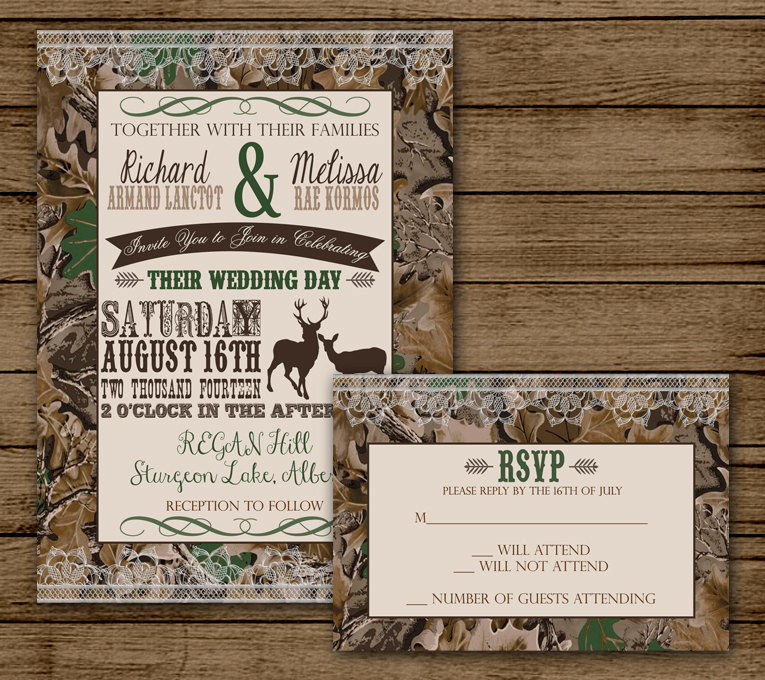Camo Wedding Invitation Templates New Camo Wedding Invitation with Rsvp Camo Invite Deer