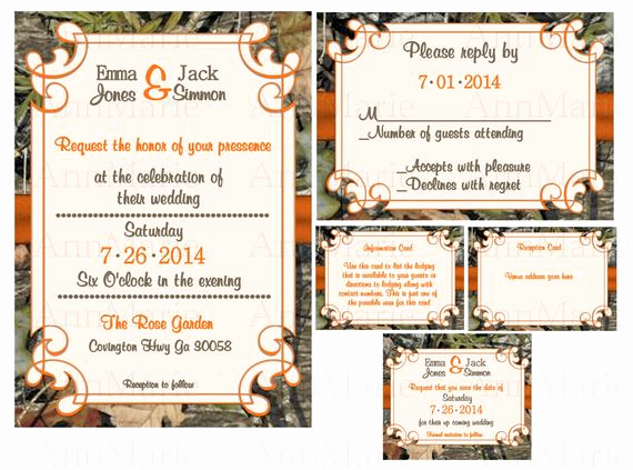 Camo Wedding Invitation Templates New Items Similar to Mossy Oak Wedding Invitation Set Camo