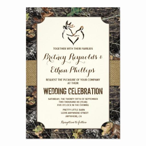 Camo Wedding Invitation Templates Unique Burlap Deer Hunting Camo Wedding Invitations