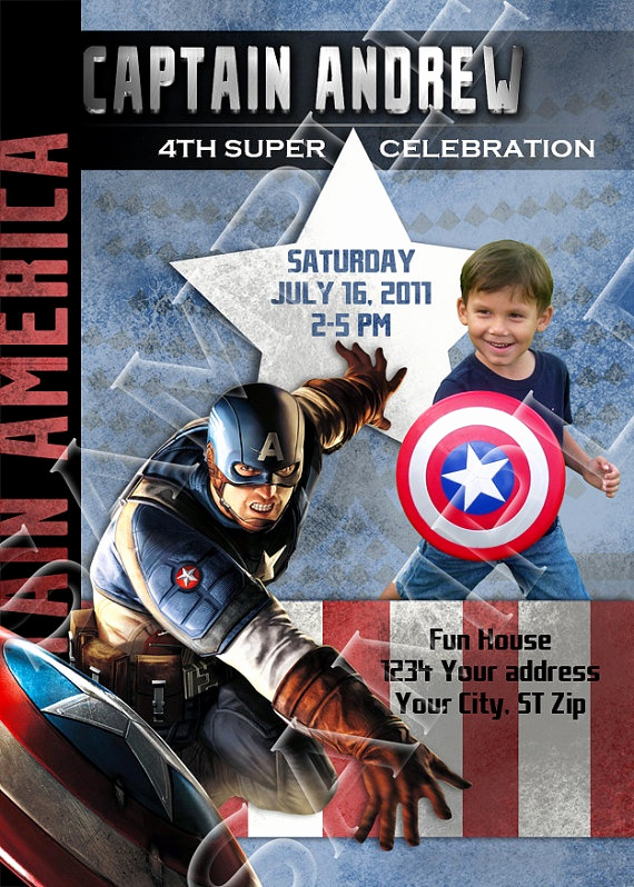 Captain America Invitation Template Awesome 1000 Images About Captain America Birthday Party On