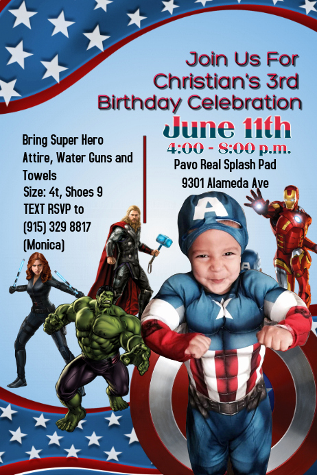 Captain America Invitation Template Awesome Captain America Template